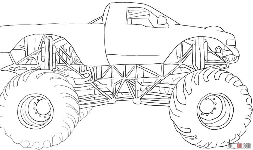 How To Draw A Monster Truck By Dawn With Images Monster Truck