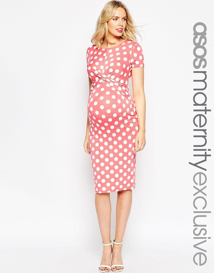 40d1a5d05e6e4 Image 1 of ASOS Maternity Body-Conscious Dress In Polka Dot With Cross Front