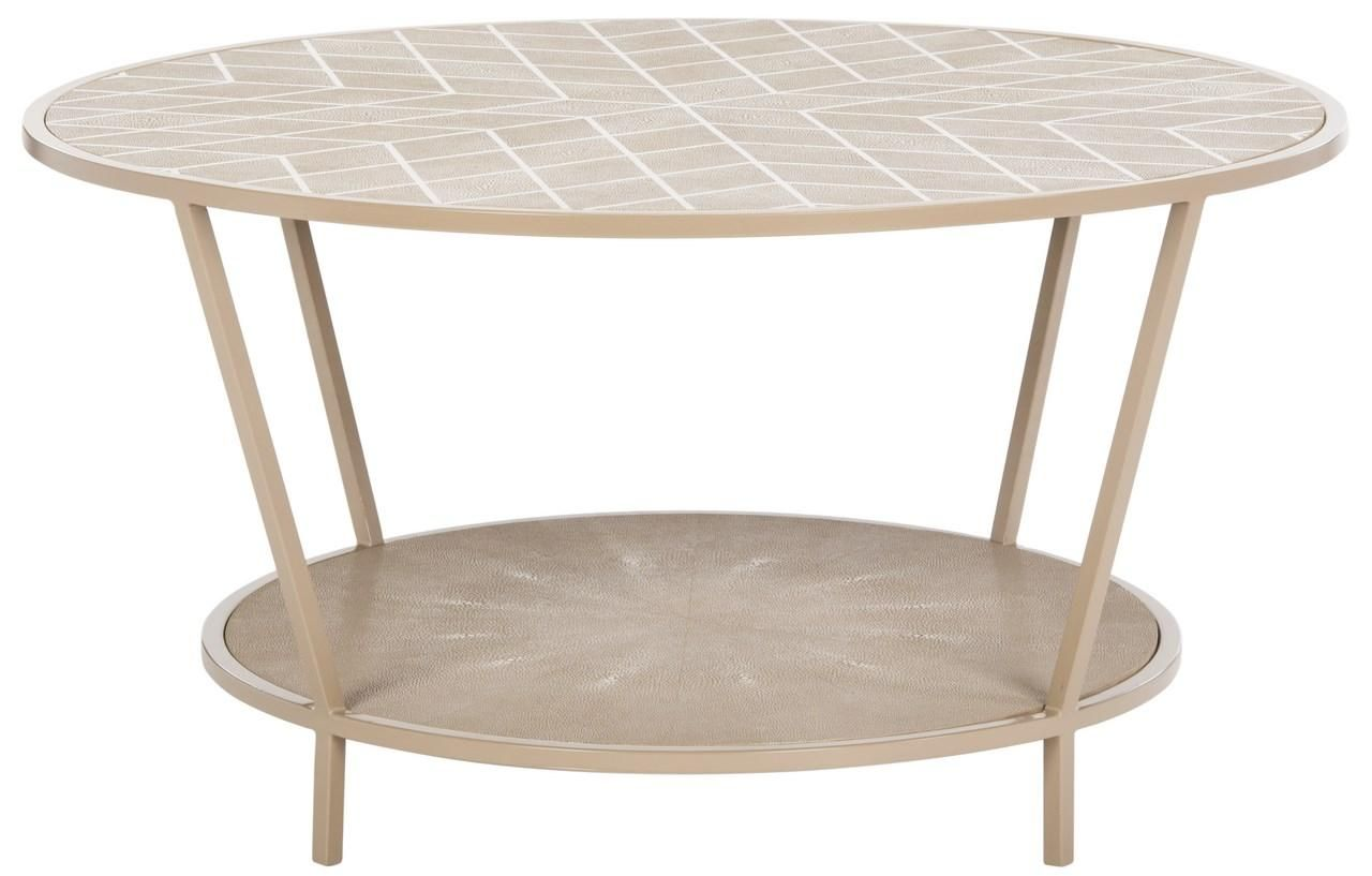 Modern Faux Shagreen Round Coffee Table