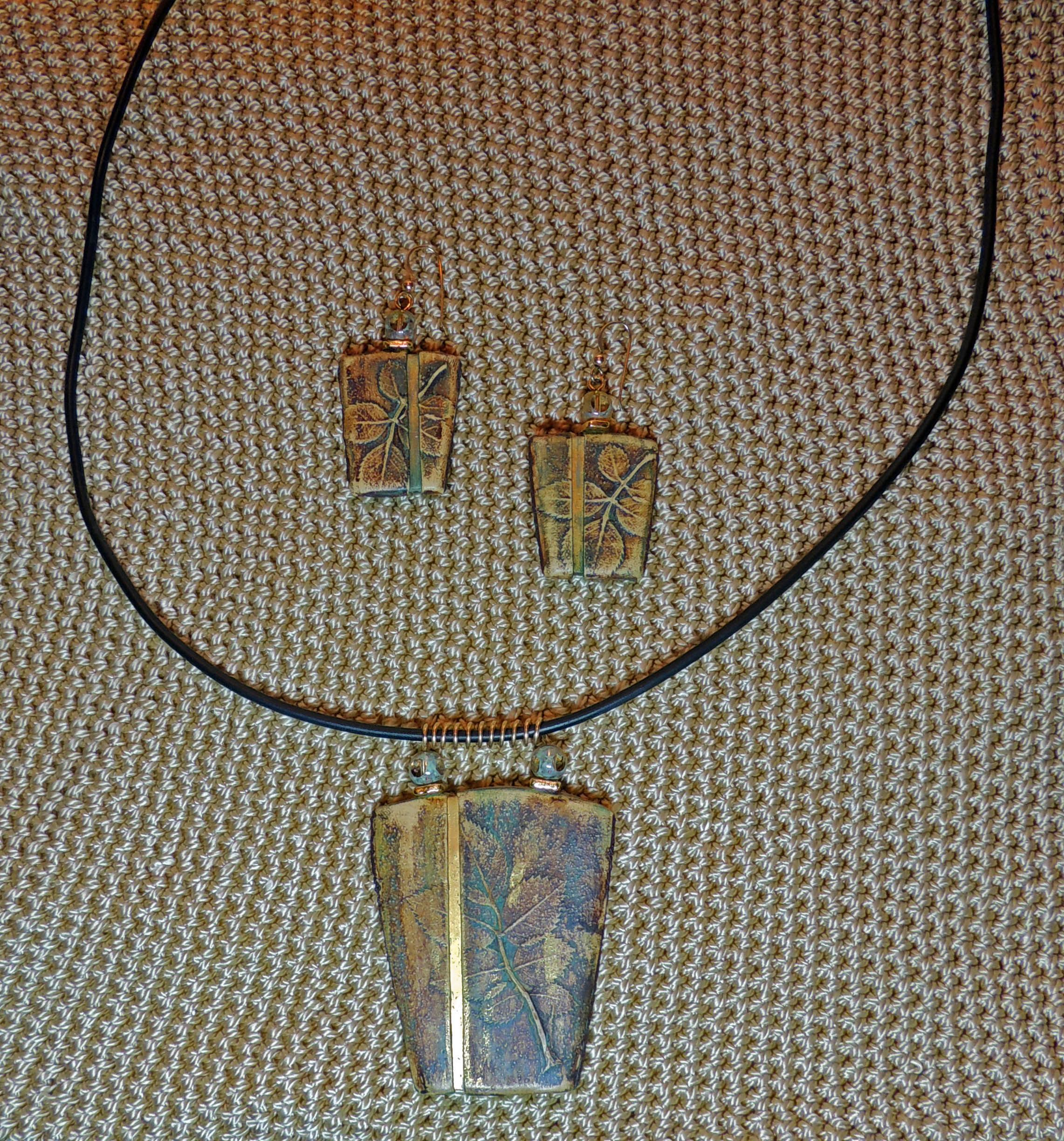 Patricia Kimle Leaf Fossil Pendant and Earring Set -  AVAILABLE. Purchased at a Ravensdale Conference.