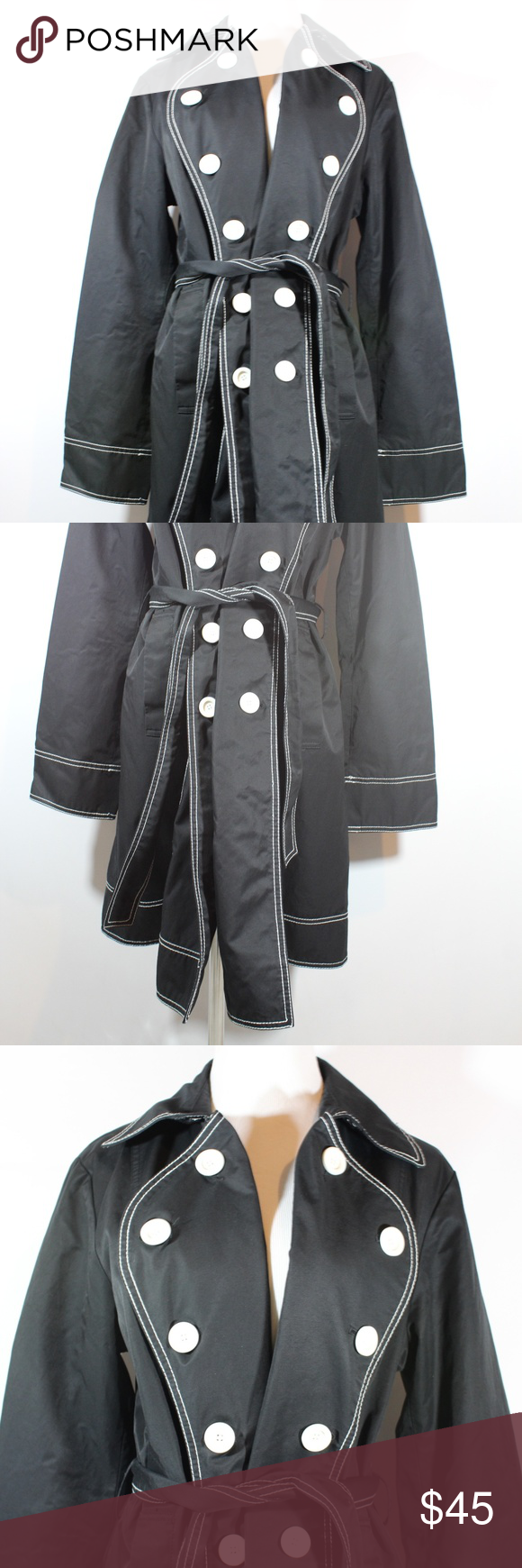 Laundry By Design Large Raincoat Trench Coat Black Trench Coat Black Trench Coat Rain Trench Coat
