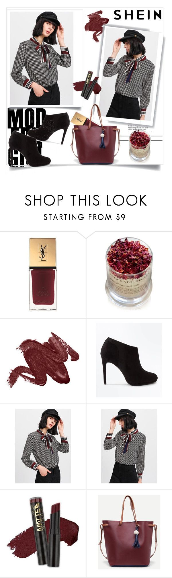 """""""BLOUSE-SHEIN-Contest!"""" by s-fashionb ❤ liked on Polyvore featuring Yves Saint Laurent, Lola's Apothecary, New Look and L.A. Girl"""