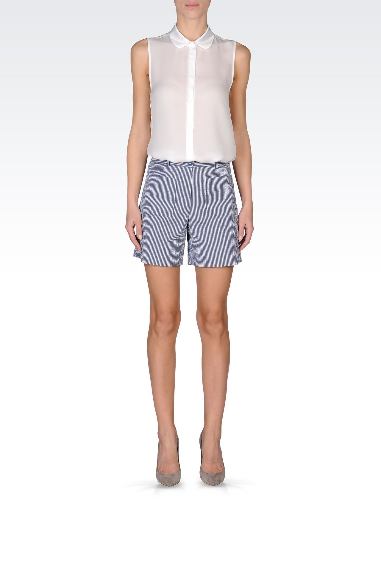 33a8929d79 Emporio Armani Women Bermuda Short - BERMUDA SHORTS IN STRIPED ...