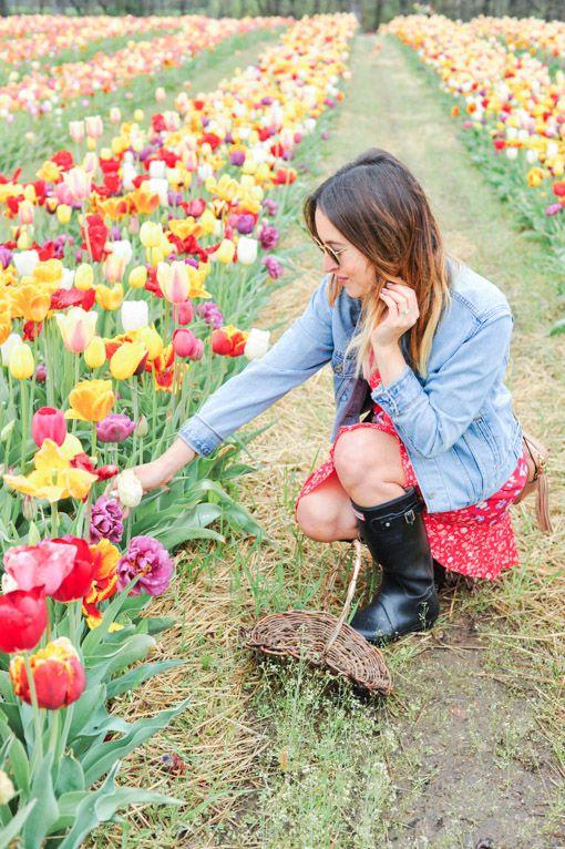 New England Tulips Gummistiefel Stiefel Reitstiefel