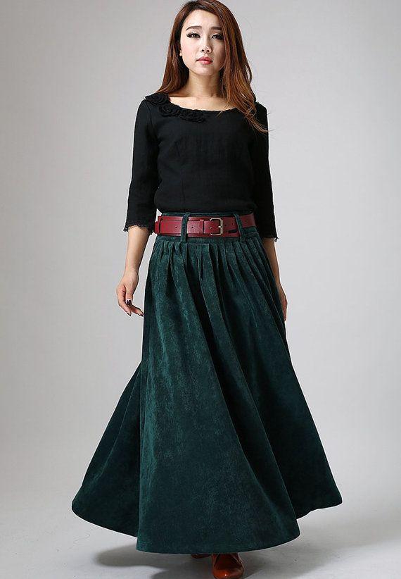 4c2fda13e2 Green skirt maxi skirt long skirt pleated skirt corduroy skirt (MM61 ...