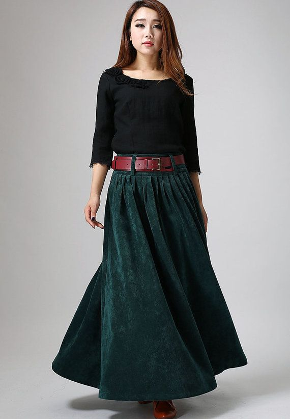 teal green maxi skirt corduroy winter skirt cozy