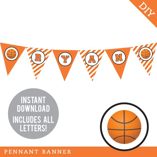 Basketball Party Pennant Banner Instant Download Happy Birthday Banner Printable Pennant Banners Basketball Party