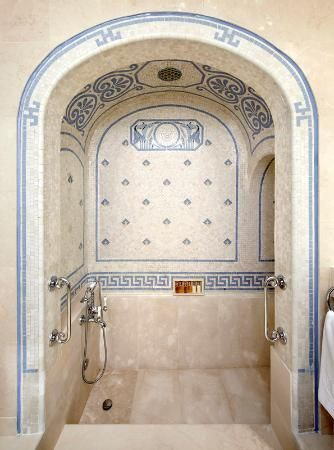 Neat Little Roman Bath Inspired Tiled Shower Home Decor