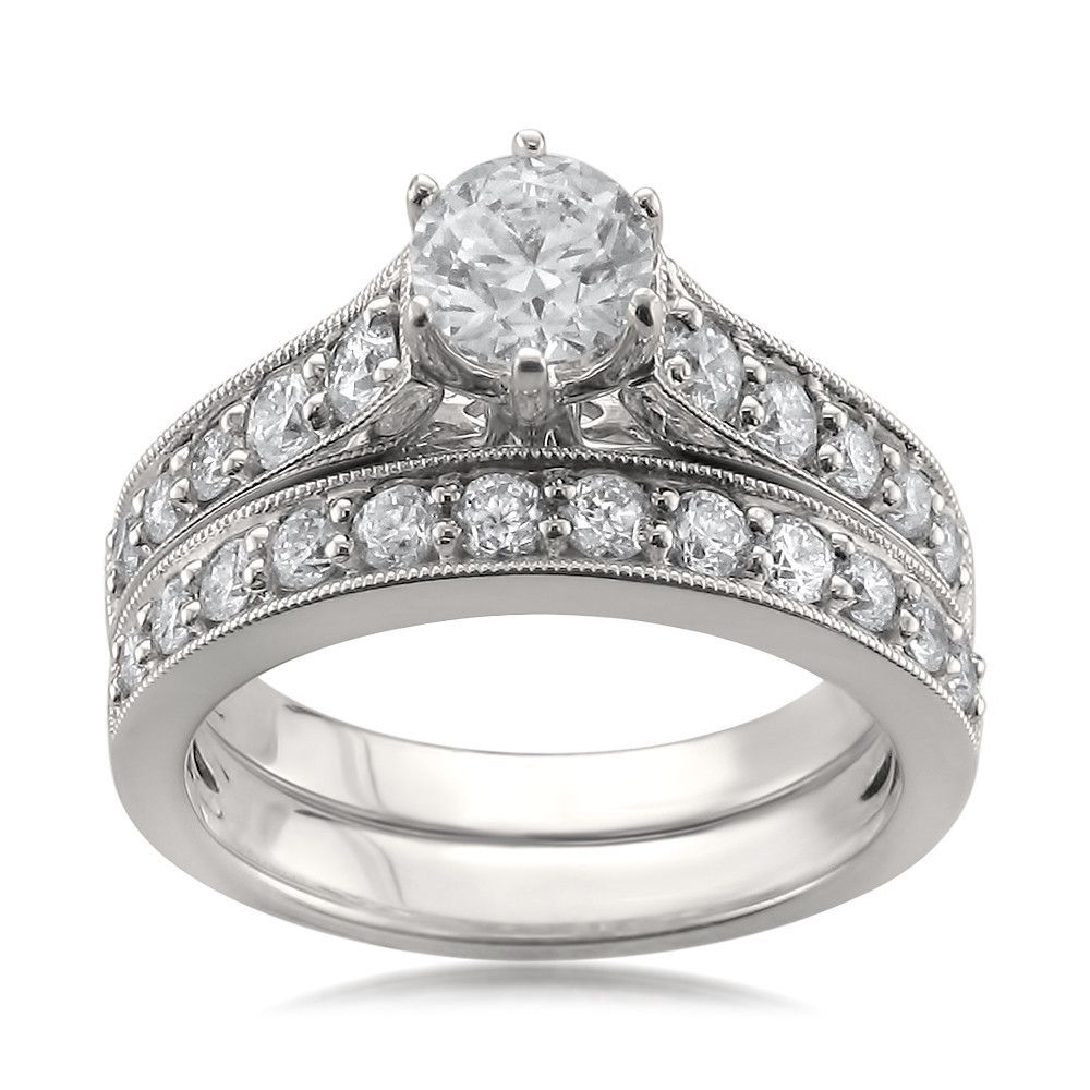 14k White Gold IGI Certified Round Diamond Engagement