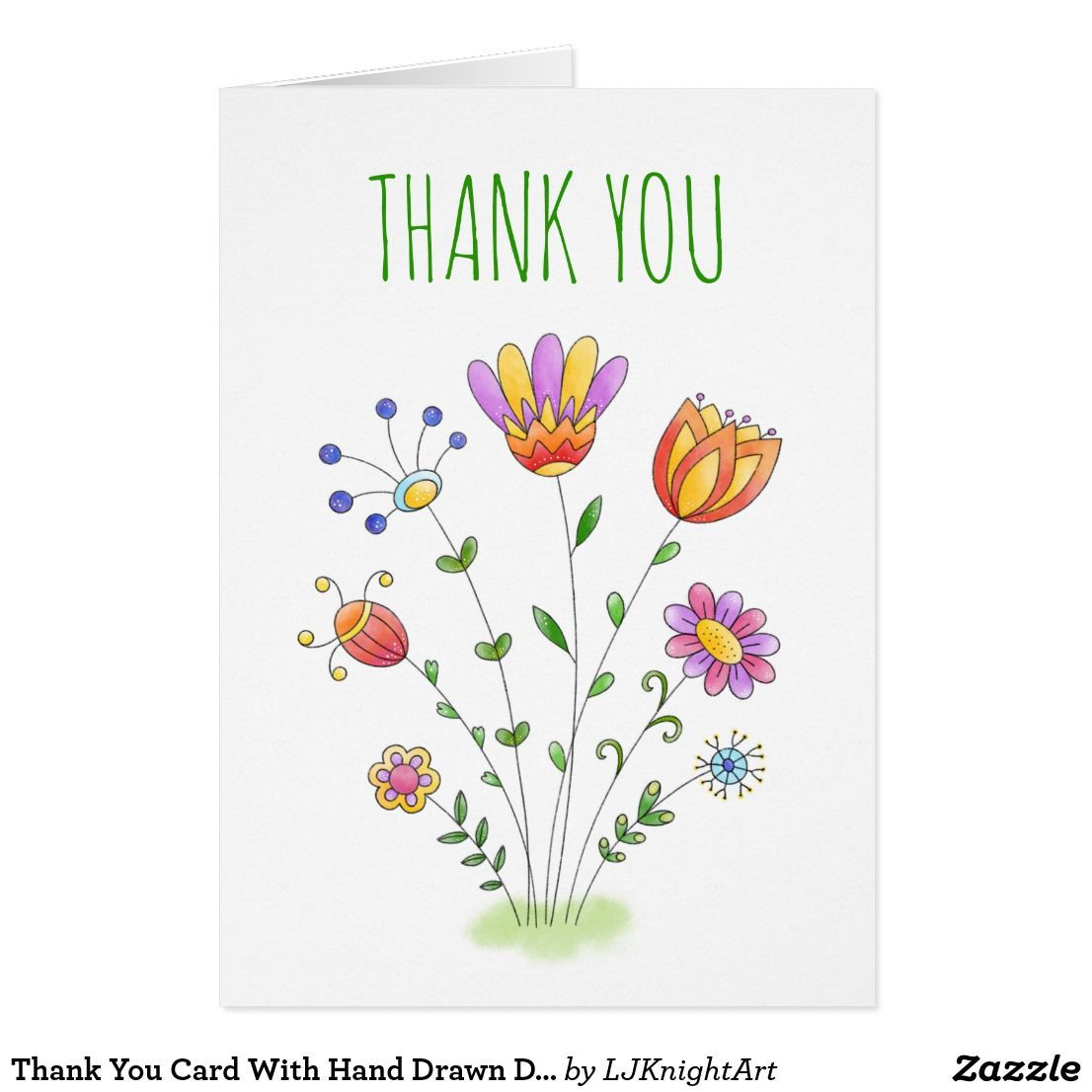 Thank You Card With Hand Drawn Doodle Flowers Zazzle Com With
