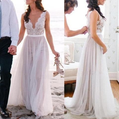 Beach wedding dress, long wedding dress, affordable wedding dress, tulle wedding dress, popular wedding dress, PD15020
