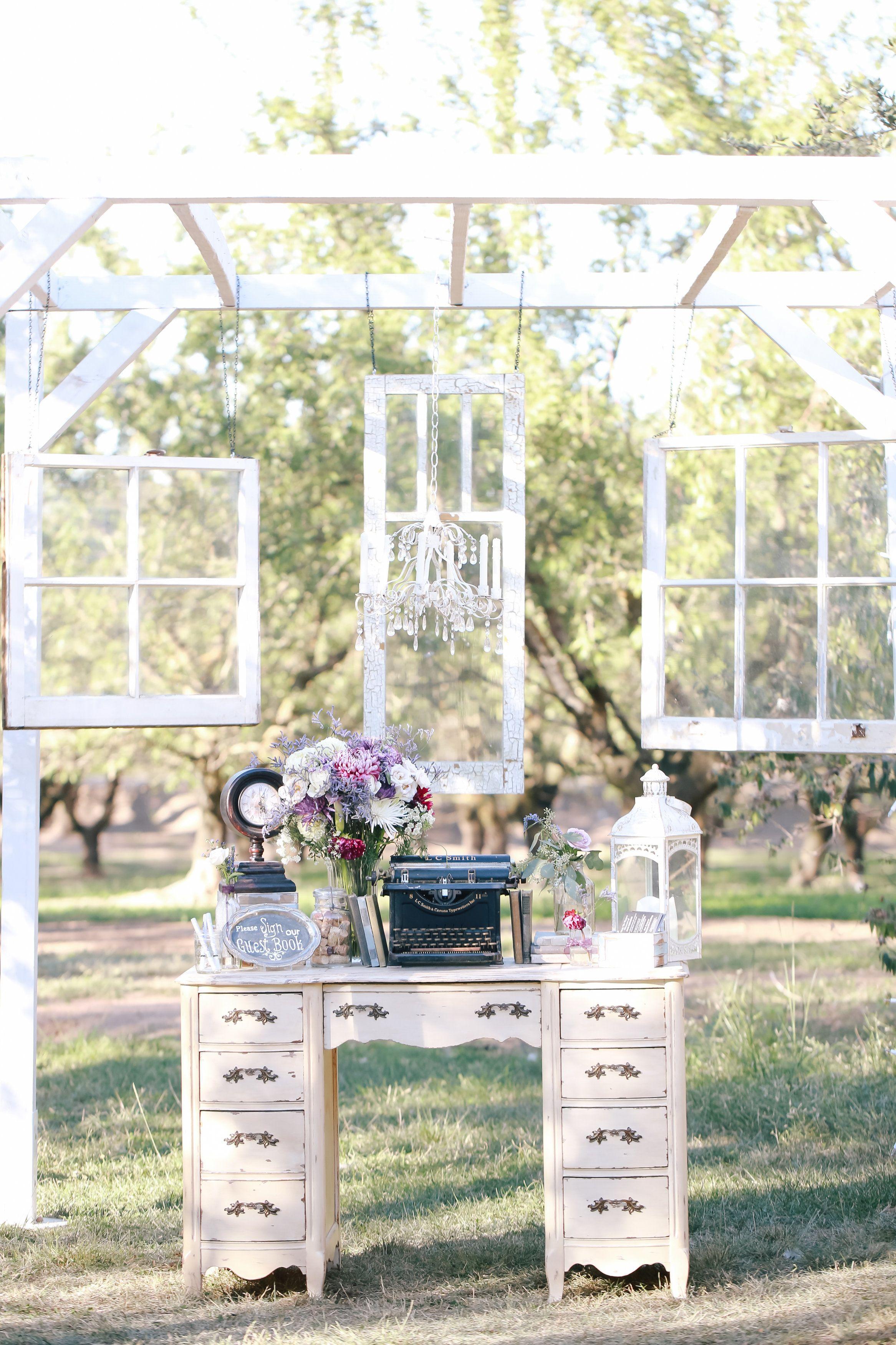 Vintage Wedding Decor Guest Sign In Area Windows Desk Typewriter Cha Vintage Wedding Centerpieces Vintage Wedding Decorations Vintage Wedding Rentals