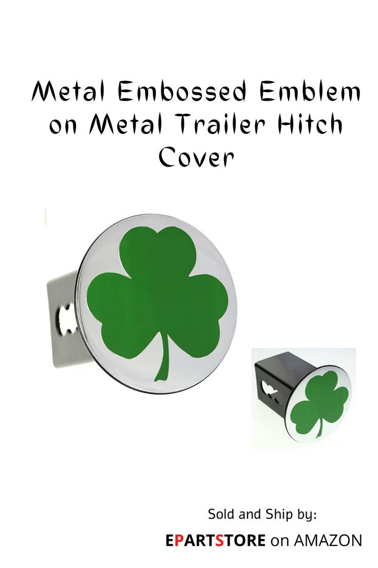 eVerHITCH Chrome Metal Embossed Emblem on Metal Trailer Hitch Cover (Fits 2″ Receivers, Clover Shamr