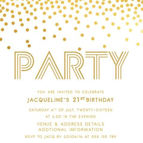 Gold Digital Printable Birthday Invitation Template 21st Invitations 30th 40th 50th