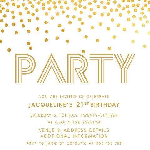 Gold Digital Printable Birthday Invitation Template 21st