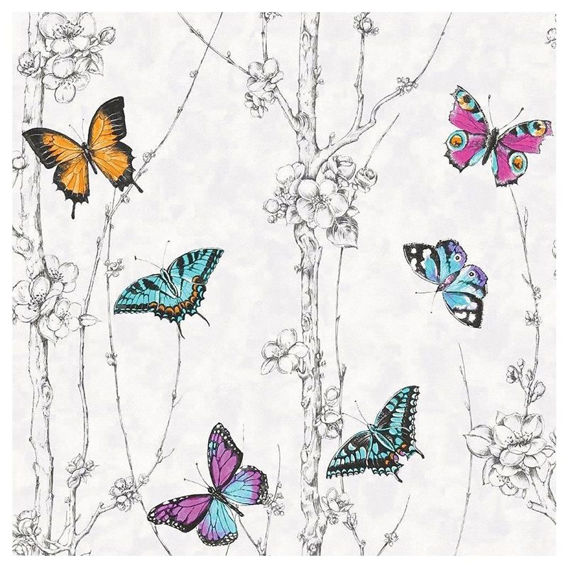 Fresco Flutter Forest Multicoloured Wallpaper Butterfly Wallpaper Multicoloured Wallpaper Neutral Wallpaper