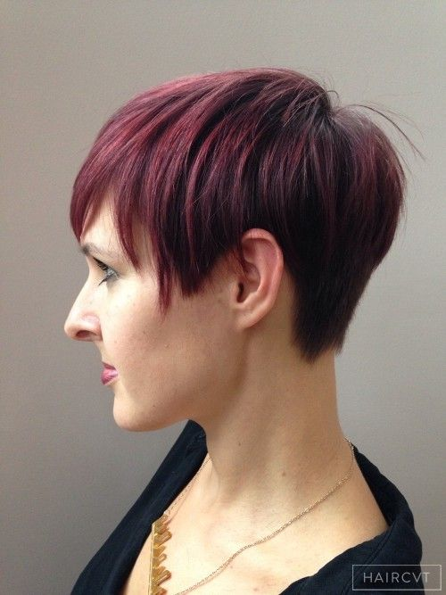 women redhead copper asymmetric hairstyle