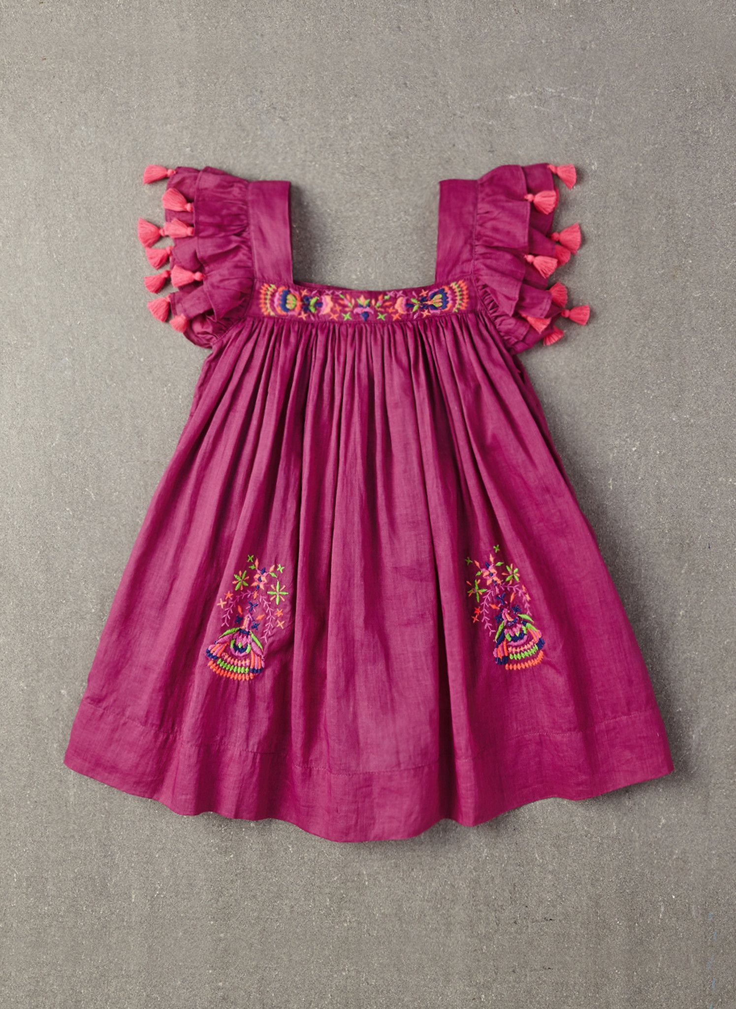 60b7d2394f2ac9 100% cotton A-line dress with embroidery & pompoms in Spring Crocus ...