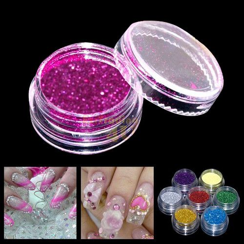 12pcs Color Glitter Powder Dust Nail Art Tip Decoration | eBay