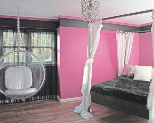 jugendzimmer designideen rosa wandfarbe schwarzes bett hängesessel