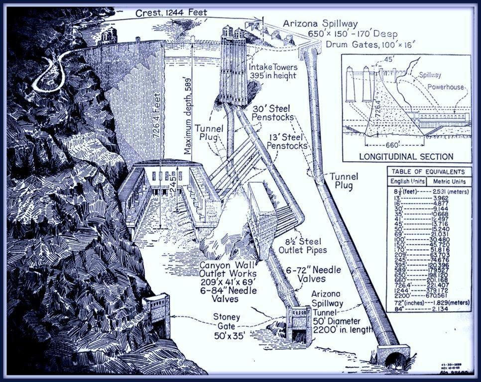 Hoover Dam Diagram   Blueprint Giclee Circa 1956