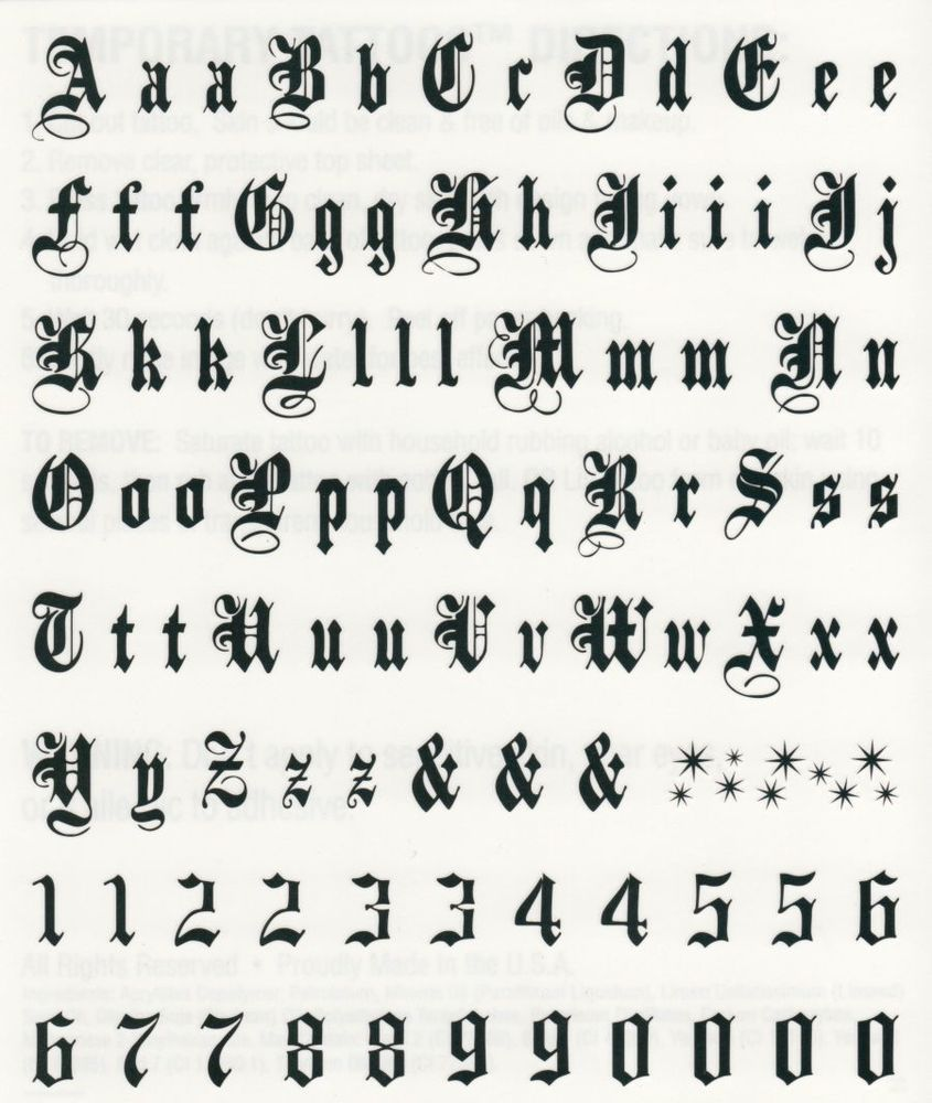 Black Script Letters Numbers Temporary Tattoo Sheet 6 X 5 Made