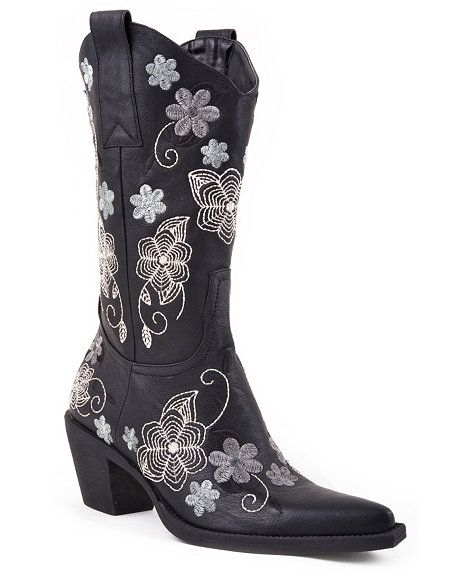 950ec03cbfc Roper Vintage Floral Embroidered Faux Leather Cowgirl Boots - Snip ...