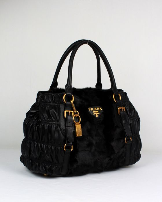 Prada Outlet Carved Hair and Lambskin Bags With Black - Click Image to Close