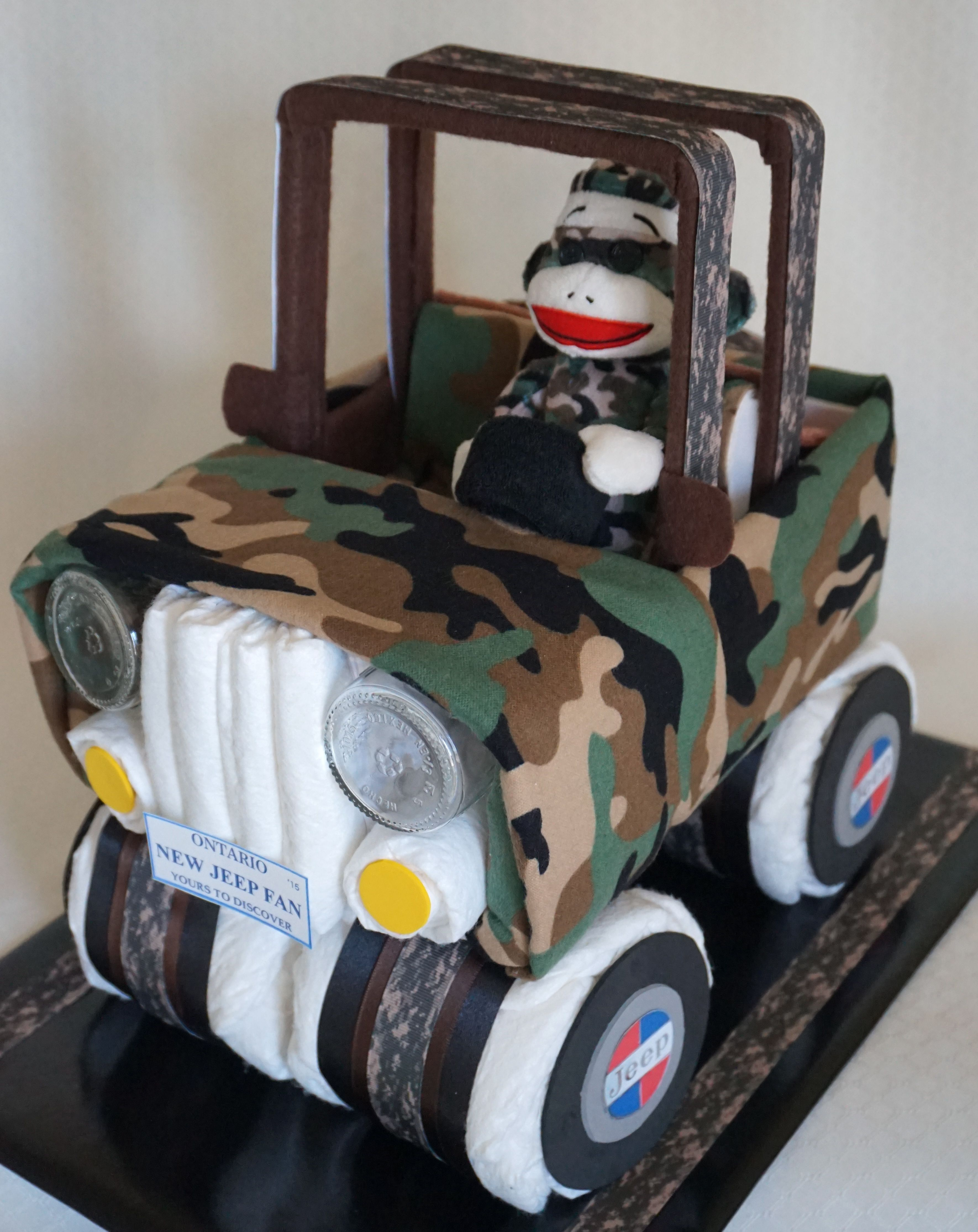 camouflage jeep diaper cake b b pinterest cadeau b b. Black Bedroom Furniture Sets. Home Design Ideas