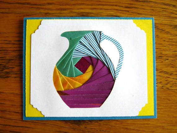 Homemade Iris Fold Water Pitcher Note Card by BjwHomemadeWithLove