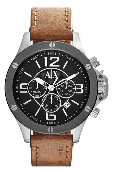 4b160ba4792c AX Armani Exchange Chronograph Leather Strap Watch