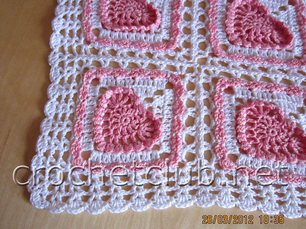 детский плед с сердечками 4 | CrochetHolic - HilariaFina | Pinterest ...