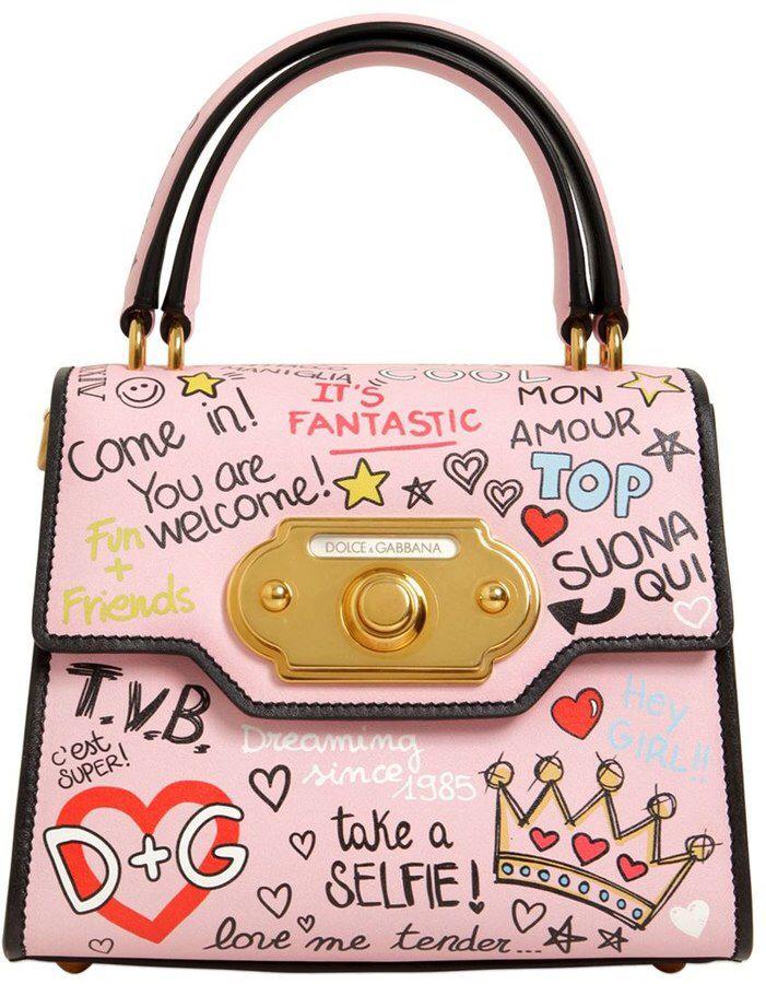 Dolce Gabbana Small Welcome Graffiti Leather Bag