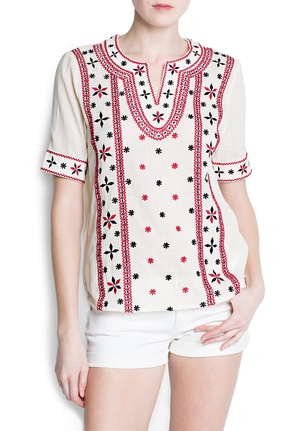 bc6ad70537f253 MANGO - CLOTHING - Tops - Boho embroidered blouse