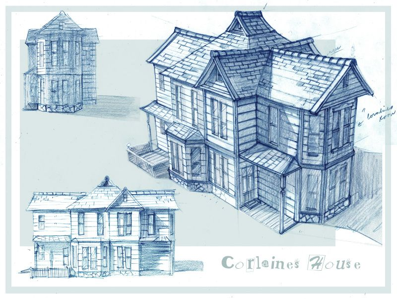 Corlaine Houses Concept Art Characters Architecture Drawing Coraline