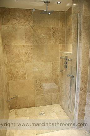 Alcove showering I like the idea, and I like the stone