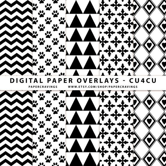 Digital Paper Overlay - Paper Template - Chevron triangle paw print ...