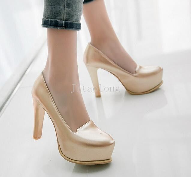 Womens Ladys Shiny Chunky Heels Platform Pumps Ol Work Low Top Pointy Toe  Shoes