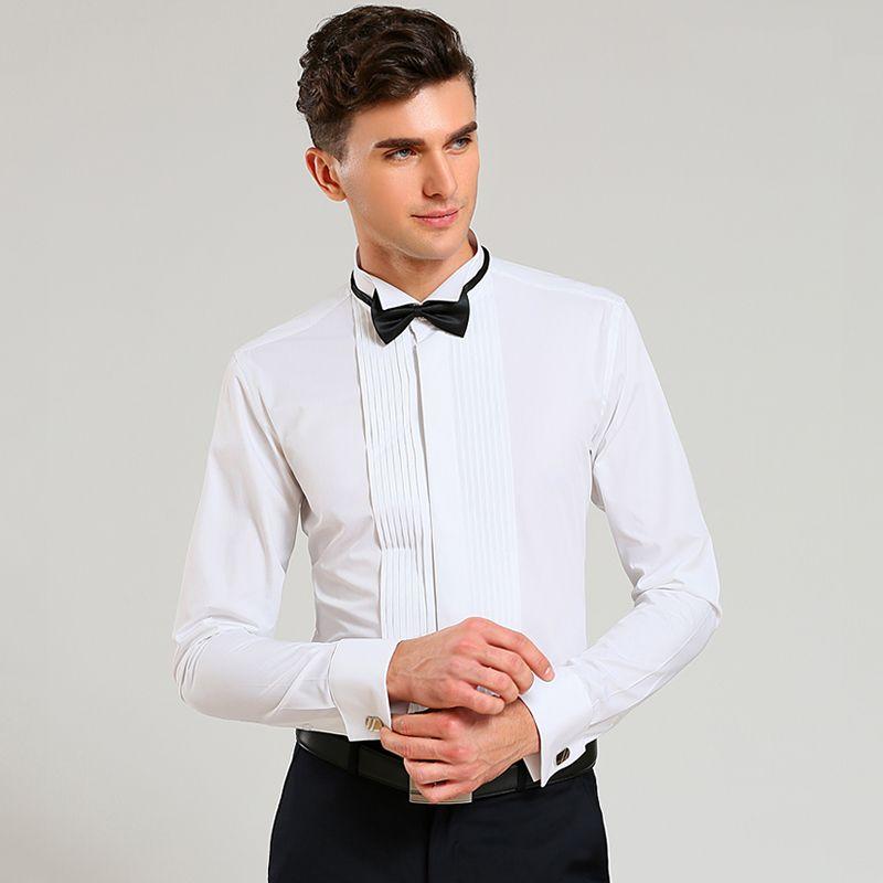 New French Cuff Men Dress Shirts Long Sleeve Men\'s Tuxedo Shirts ...
