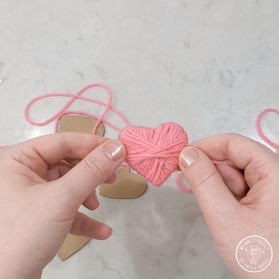 Yarn Heart Garland-#garland #heart #yarn