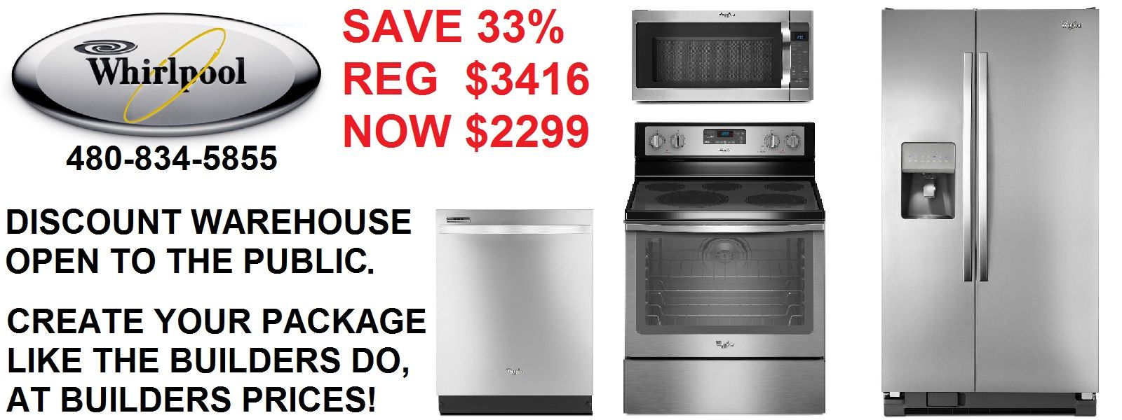 Whirlpool 4 piece stainless steel kitchen appliance package sale in ...
