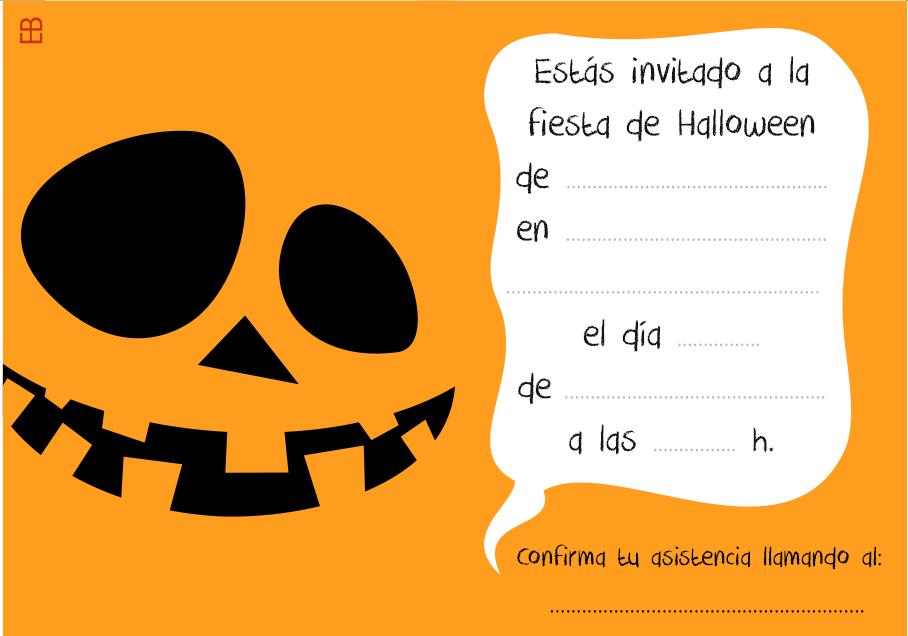 Invitación Halloween Calabaza En Color 10x7 Cm Color
