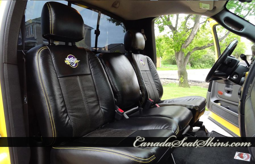 2005 Dodge Ram Rumblebee Black Leather Interior with Yellow Stitching -  canadaseatskins.com #leather #dodge #ram #rumbl… | Dodge vehicles, Leather  interior, LeatherPinterest