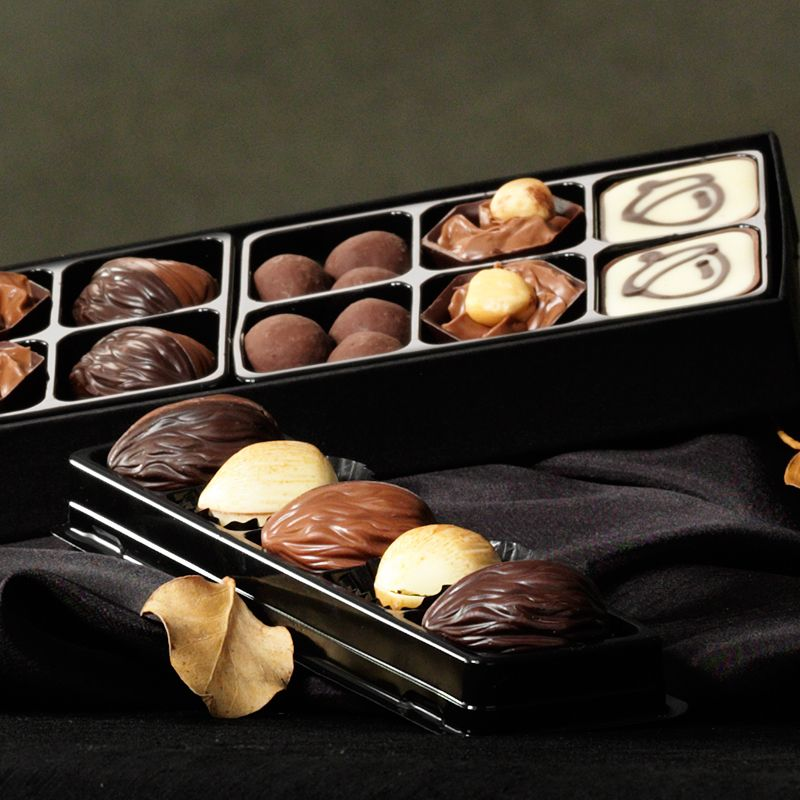 The Autumn Nibbles Collection - The perfect gift for snuggling up with on Autumn evenings. Open the ribbon to find a stash of chocolate bites, including pralines with unique squirrel and acorn designs and Malty Munches to snack on.