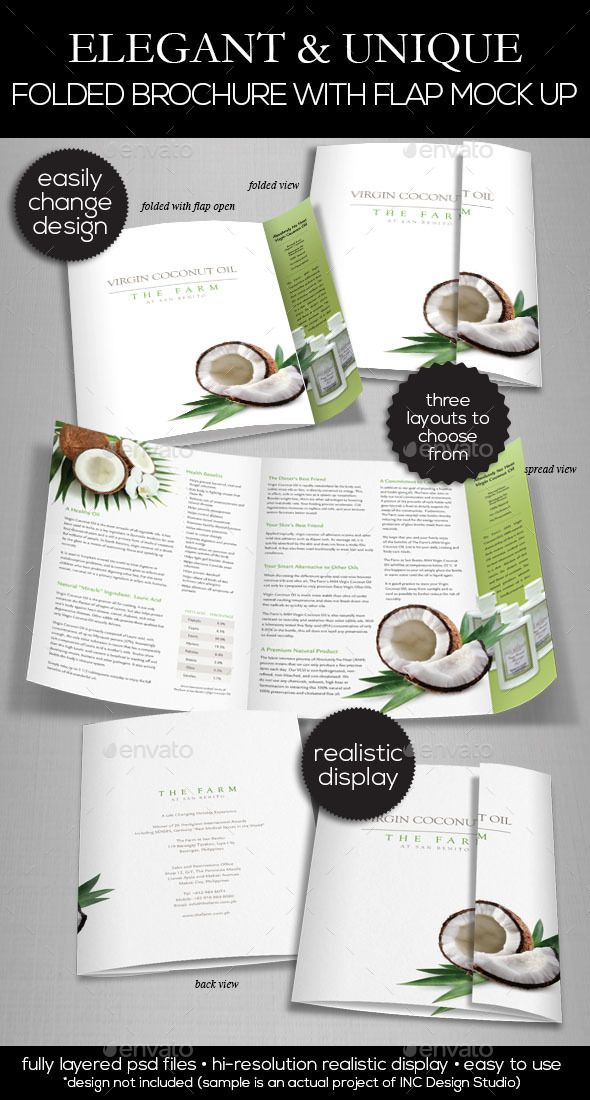 elegant folded brochure with flap mock up brochures print