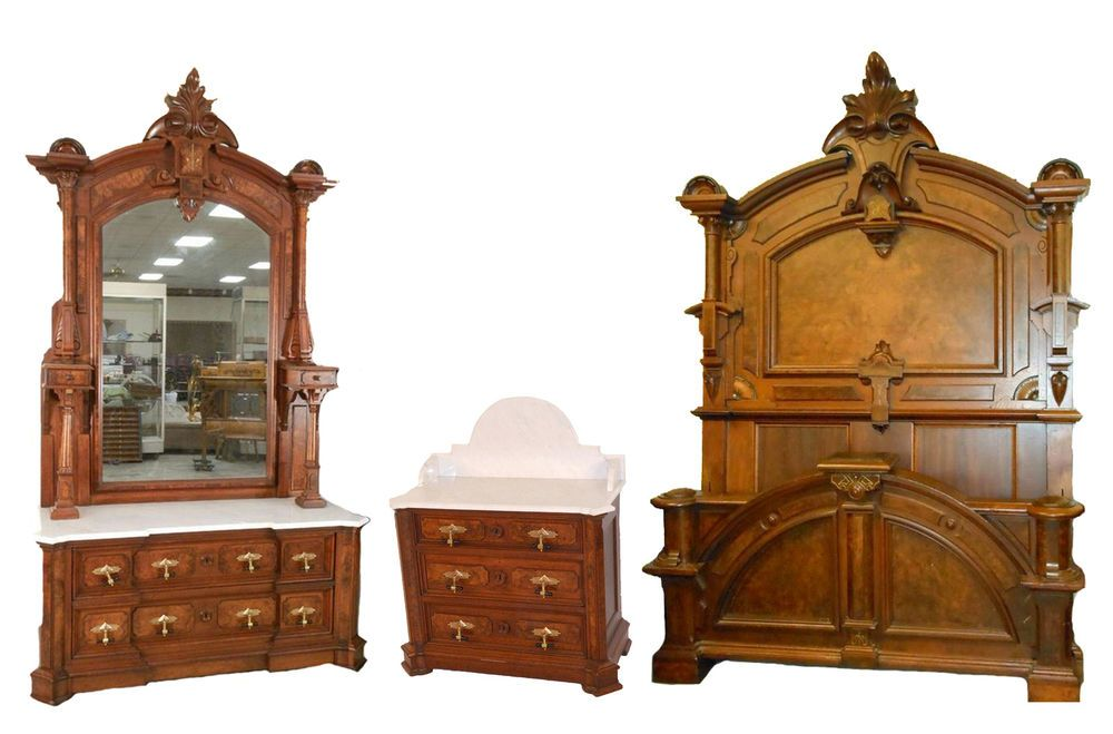 renaissance walnut and burl marble top 3 pc bedroom set antiques rh in pinterest com