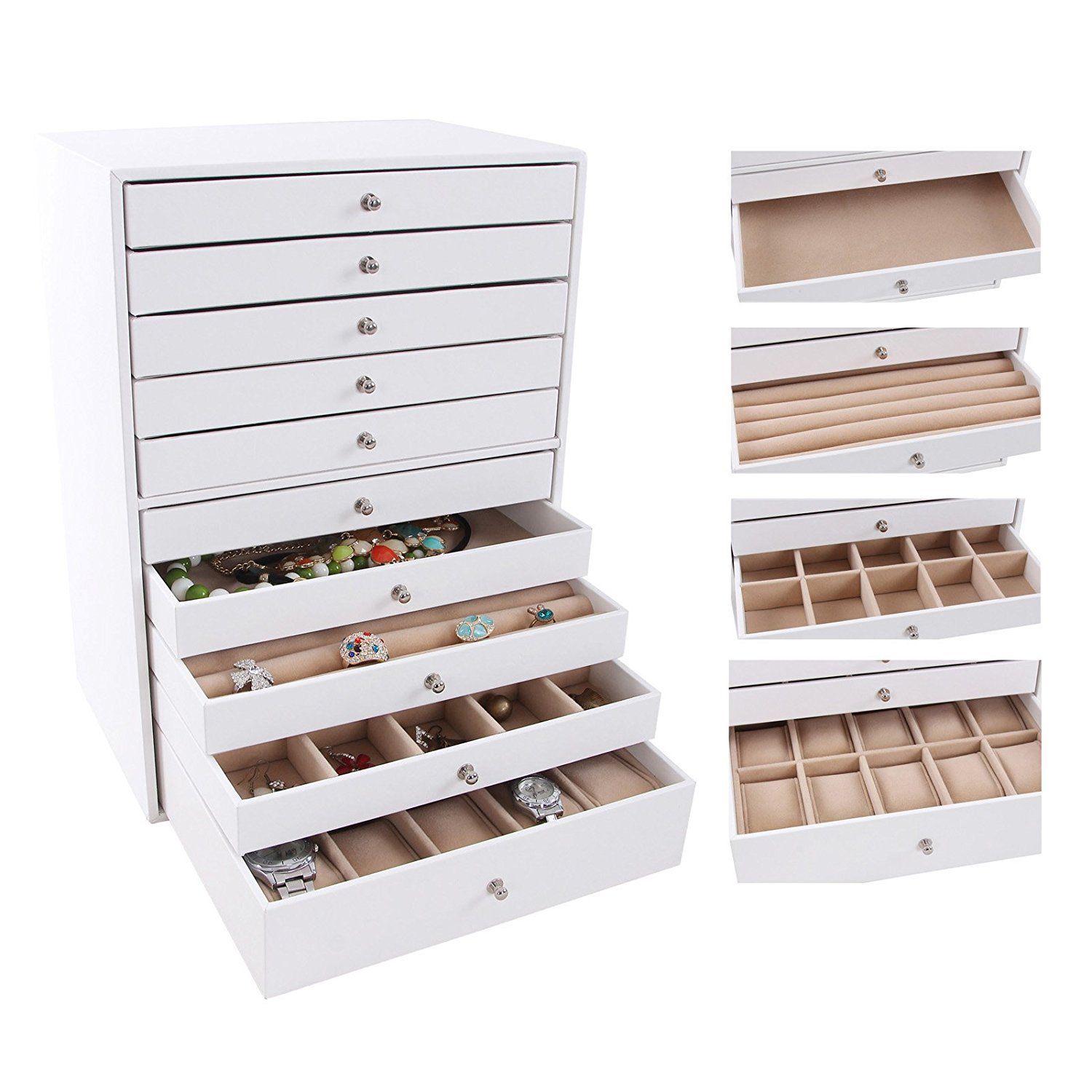 Songmics Elegant Jewellery Box Earrings Drawer Jewellery Organiser