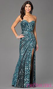 Buy Sequin Floor Length Strapless Sweetheart Dress by Primavera at PromGirl