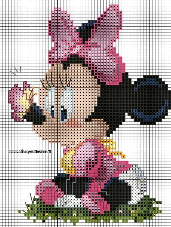 Schema Baby Minnie Punto Croce вязание детям вышивки