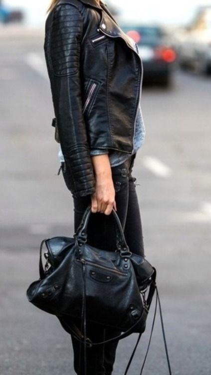 black leather for the win  style  fashion  balenciaga  bag f9bac081409ae